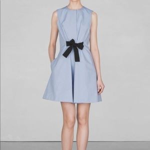 & OTHER STORIES  blue tie front mini shirt dress